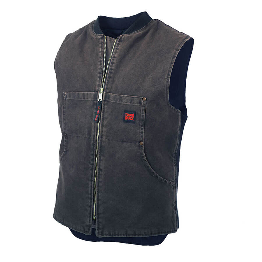Washed Quilt Lined Vest Chocolate Tough Duck