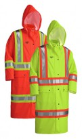 PU Stretch Hi-Viz FR Long Raincoat