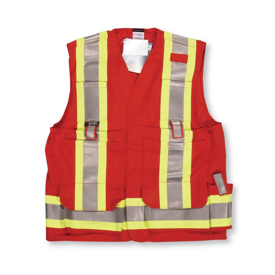 red fire retardant surveyors vest