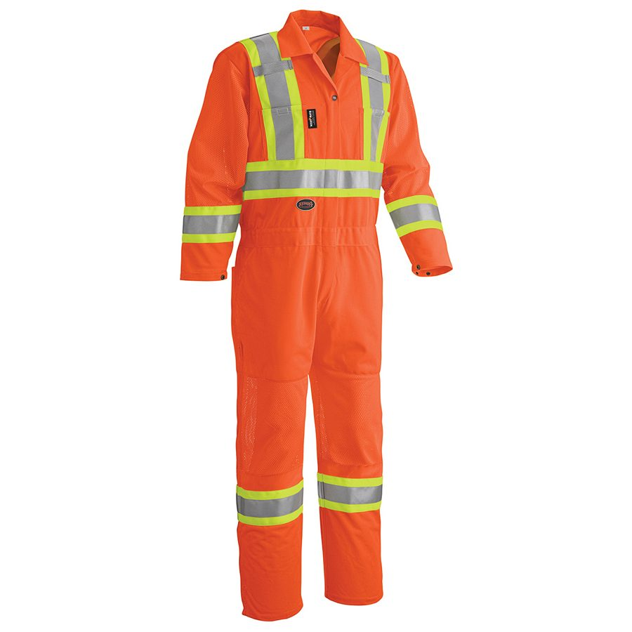 Hi Viz Traffic Coveralls With Mesh Ventilation Panels On Arms And Legs Direct Workwear