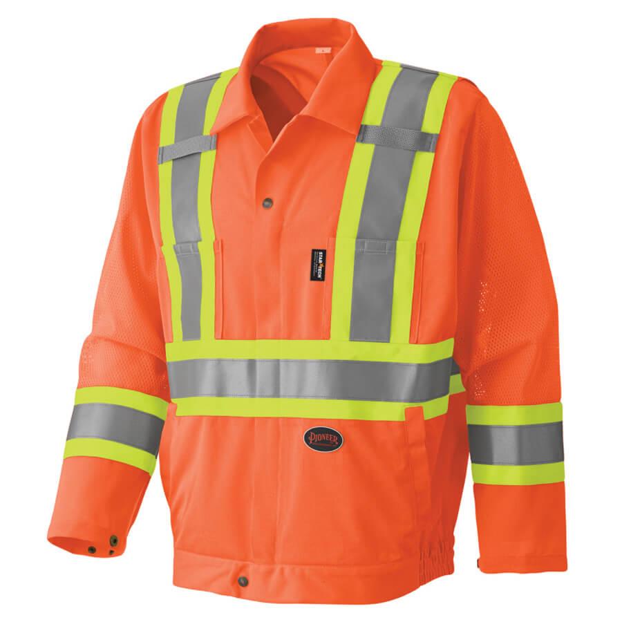 hi-viz safety jacket orange