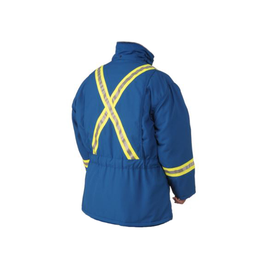 blue insulated parka back view