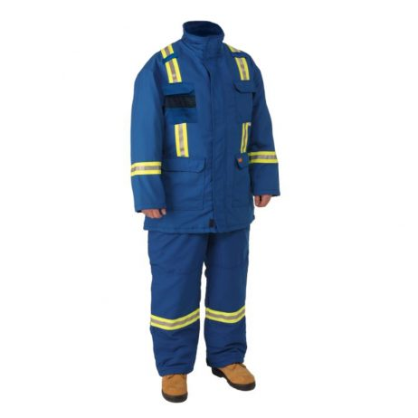 blue insulated Parka and bibs