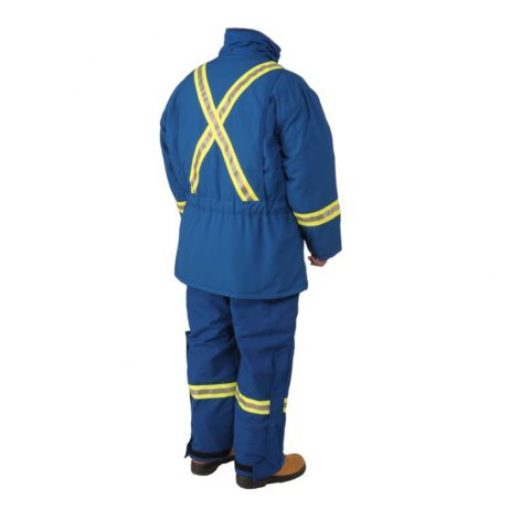blue insulated parka and bibs back view