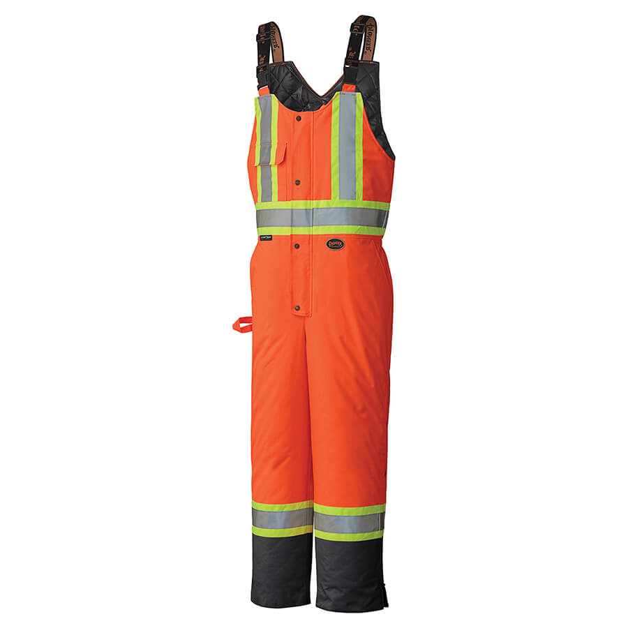 insulated orange hi-viz bib