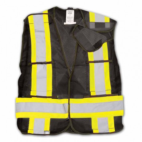 Bk101 Black Hi-Vis Mesh Safety Vest