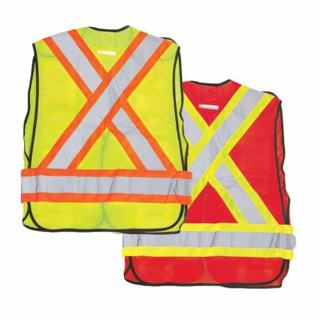 Red 100% Polyester Soft Mesh Safety Vest