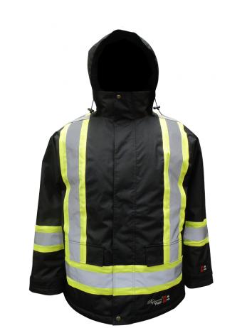 Black Hi-Viz Hooded Jacket