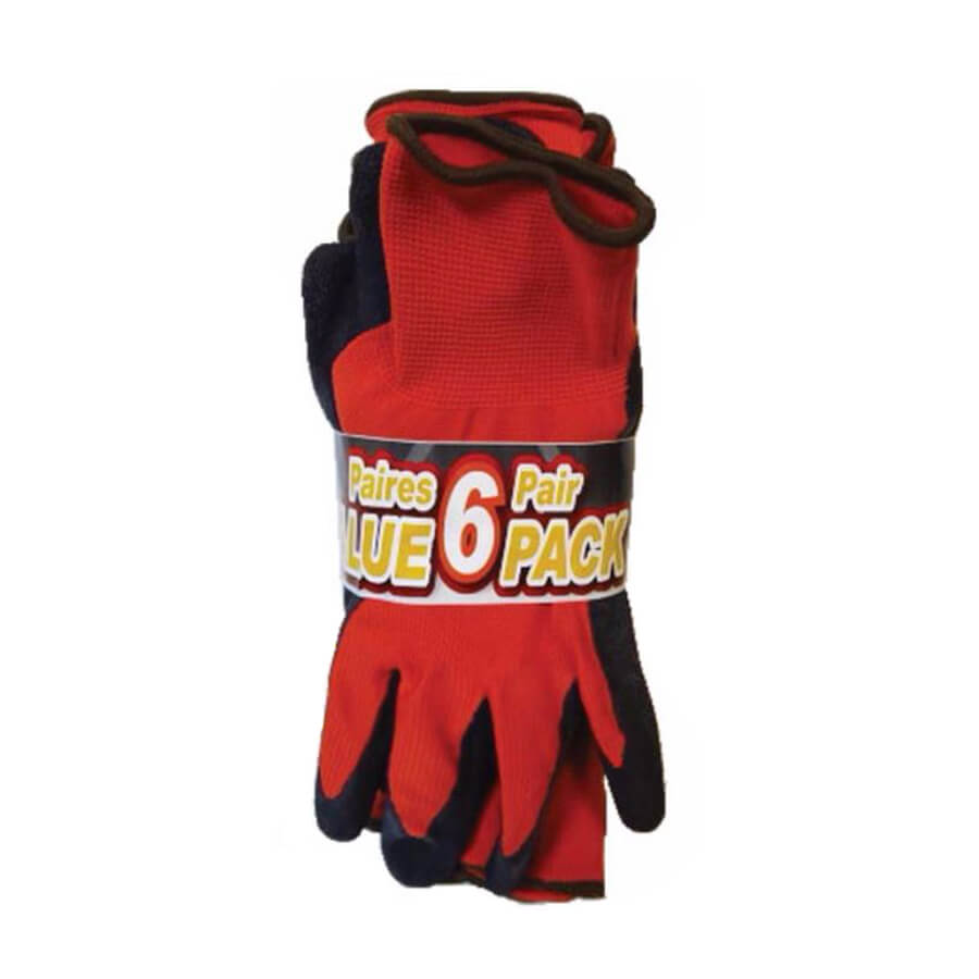 latex dipped palm gloves in red