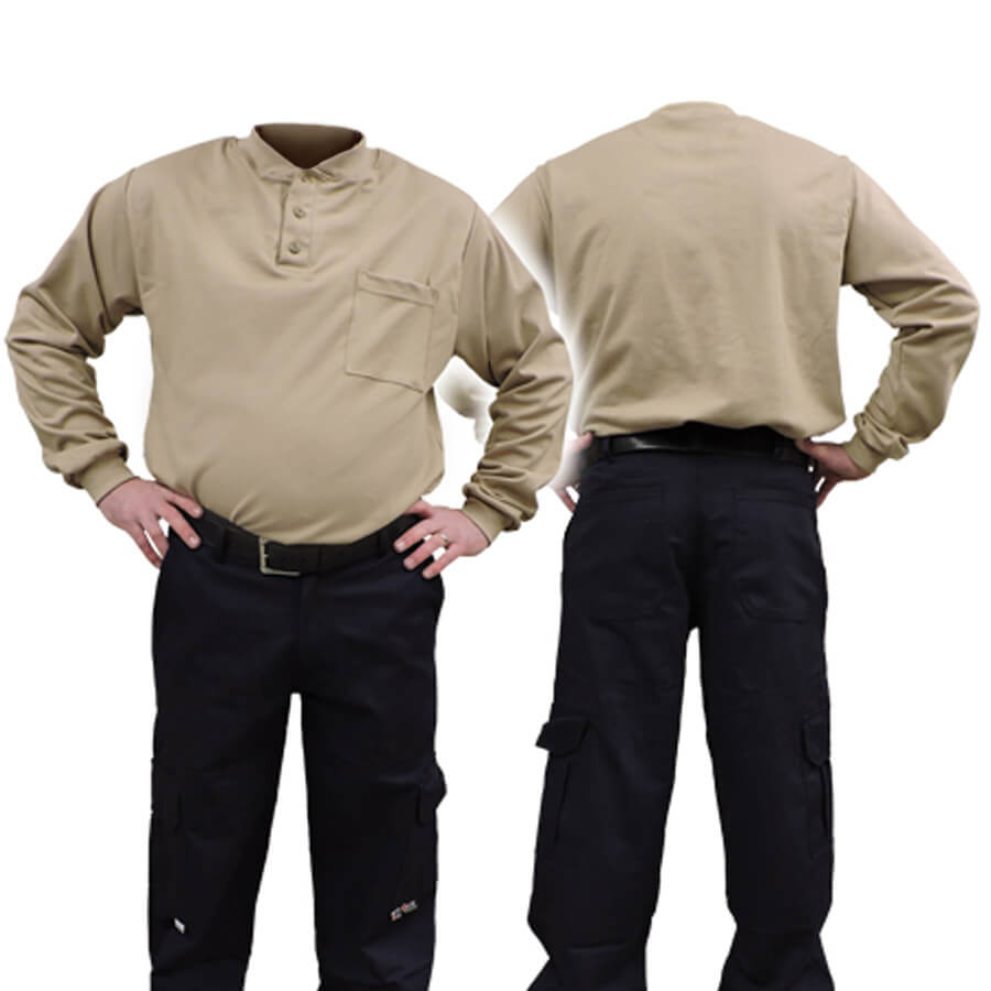 khaki fire resistant fr shirt