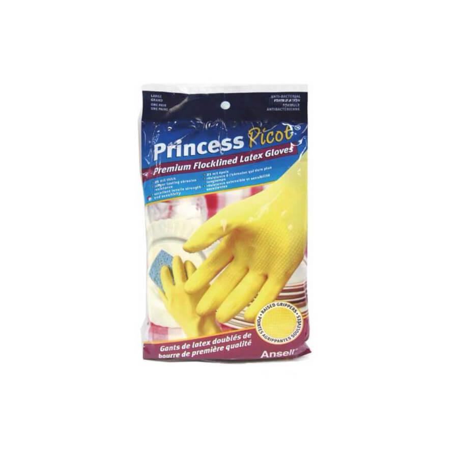 premium flocklined latex gloves yellow