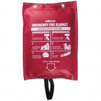 fire blanket in hanging vinyl bag