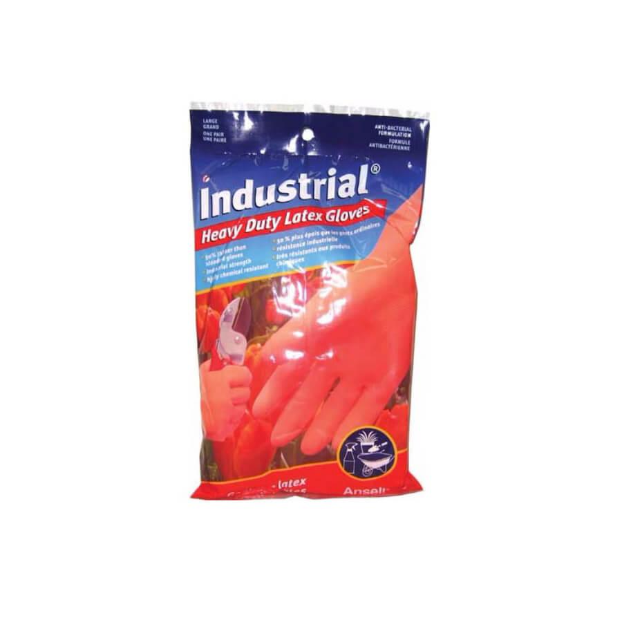 industrial heavy duty latex gloves orange in color