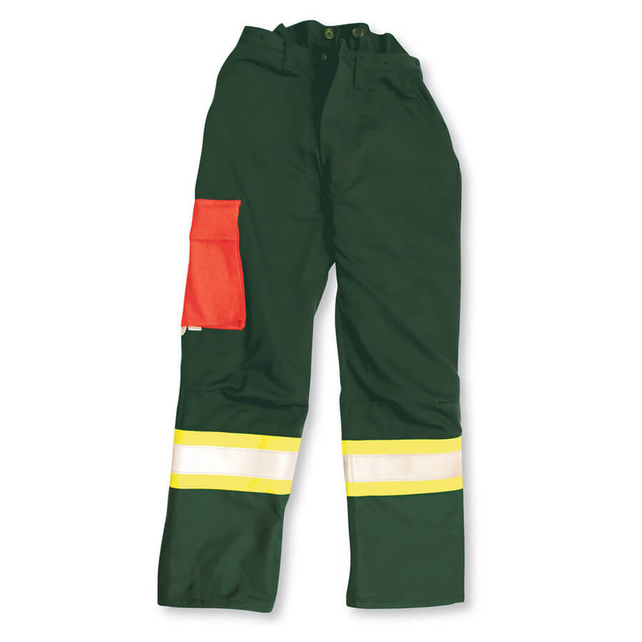 forest green chainsaw pants front view