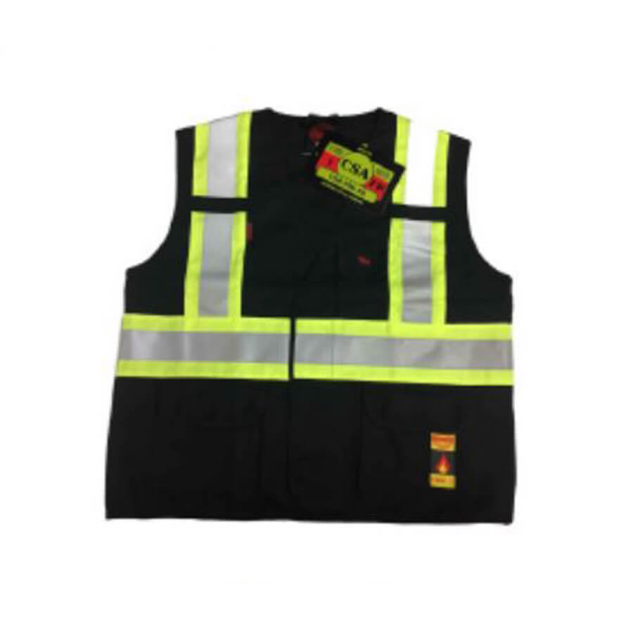 black fire resistant vest with high visibility striping