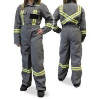grey fire resistant coveralls hi-viz striping