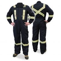 navy fire resistant coveralls with hi-viz striping