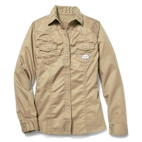 Women's Khaki long sleeved flame resistant shirt