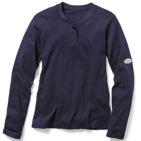 navy henley ladies flame resistant shirt