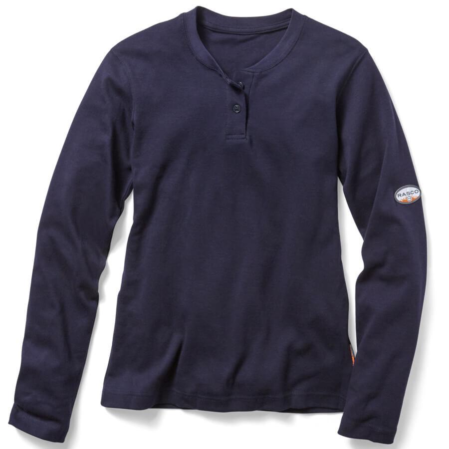 navy henley ladies flame resistant shirt