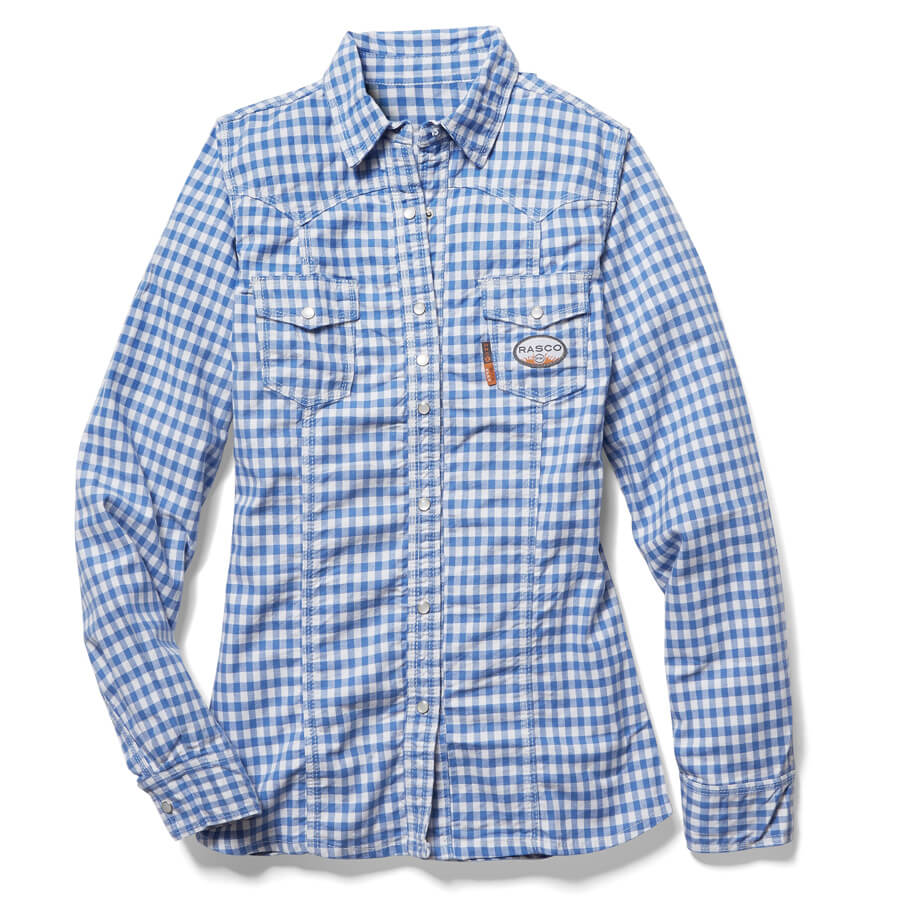 blue plaid ladies fire resistant work shirt