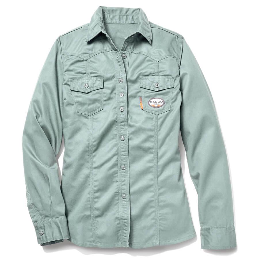 sage green fr women's work shirt