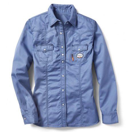 blue women's work shirt