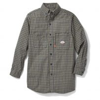 Men's Green Plaid FR Flame Resistant Work Shirt