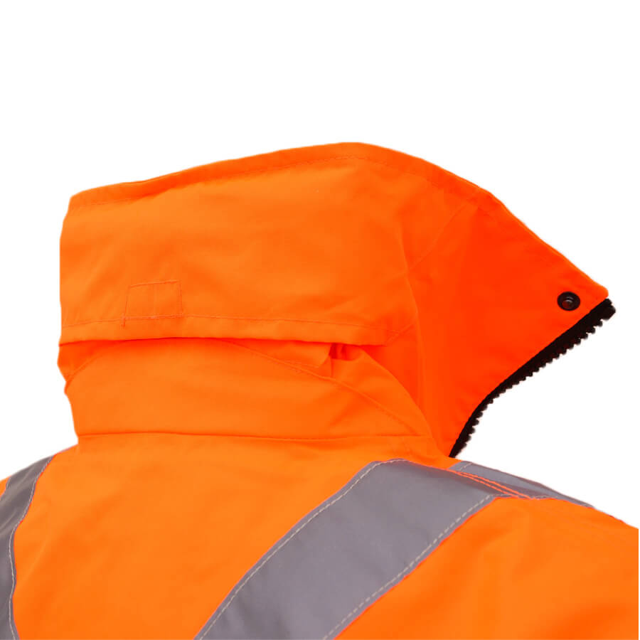 5-in-1 hi-viz orange jacket collar