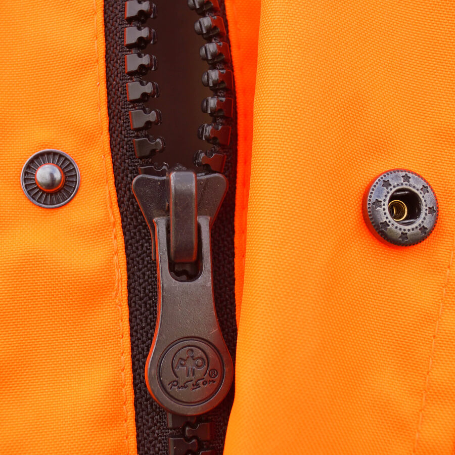 5-in-1 hi-viz orange jacket zipper
