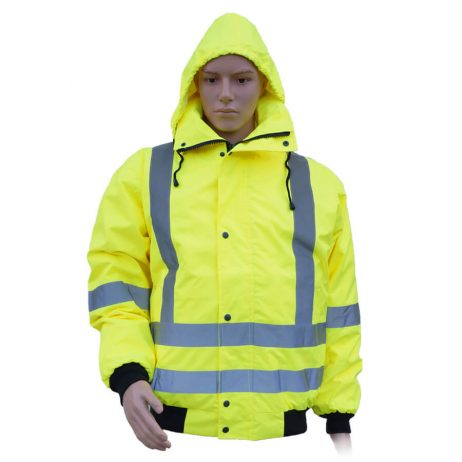 5-in-1 hi-viz yellow reversible jacket with hood