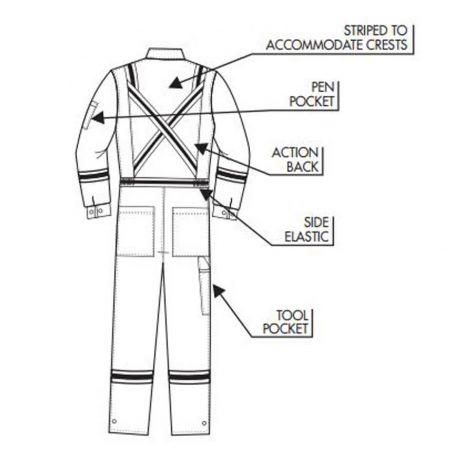 back diagram nomex coveralls pockets