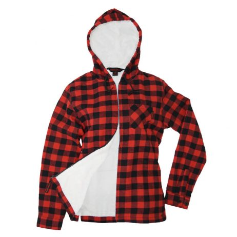 red plaid hoodie with zipper