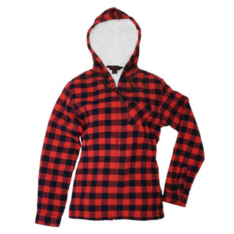 red plaid fleece hoodie with zipper