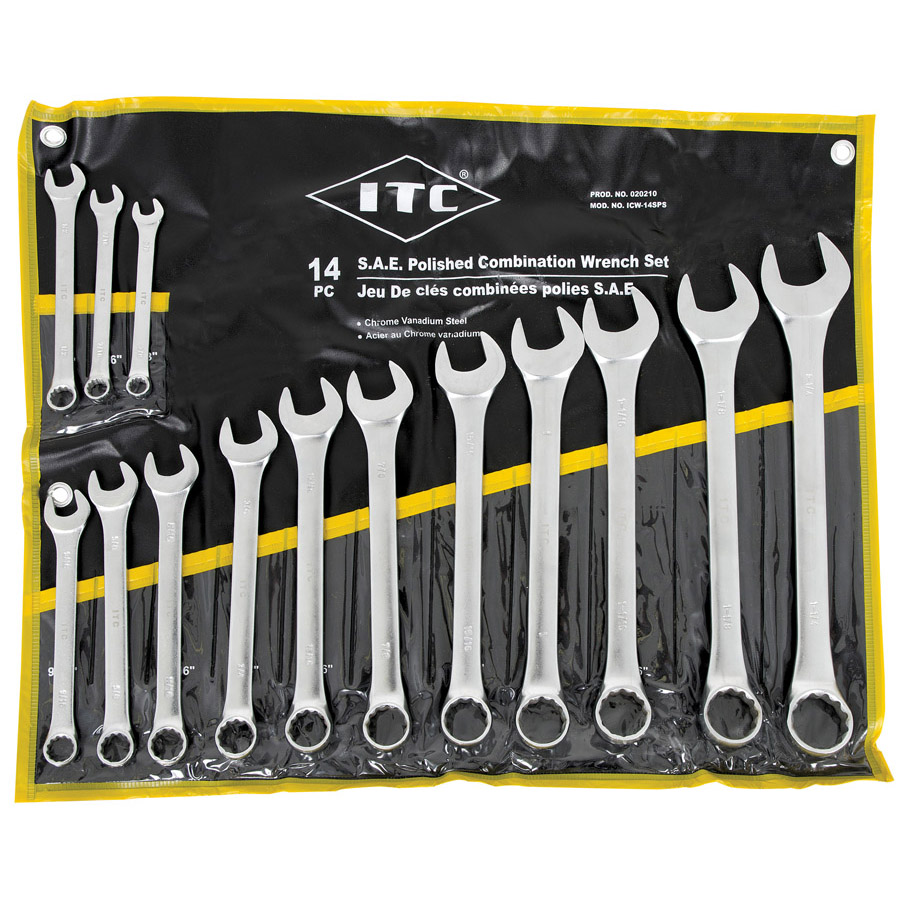 14 PC S.A.E. Polished Combination Wrench Set