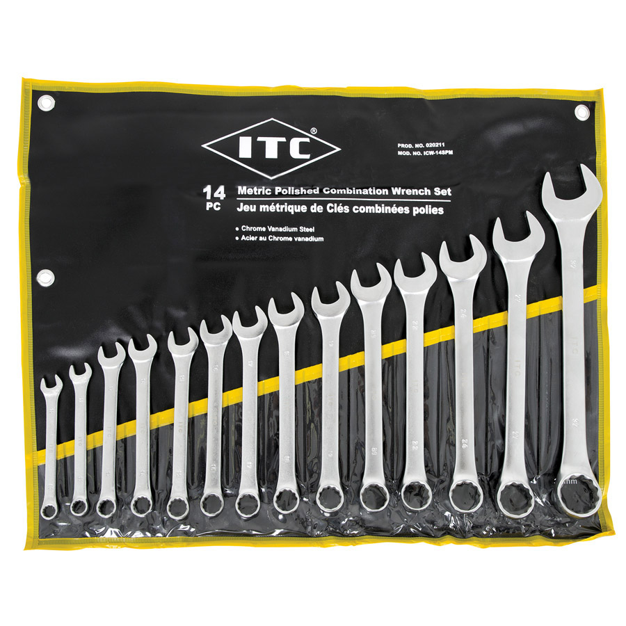 14 PC Metric Polished Combination Wrench Set