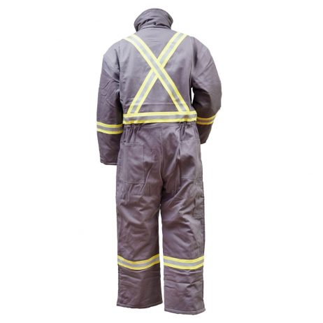 grey insulated fr coveralls back