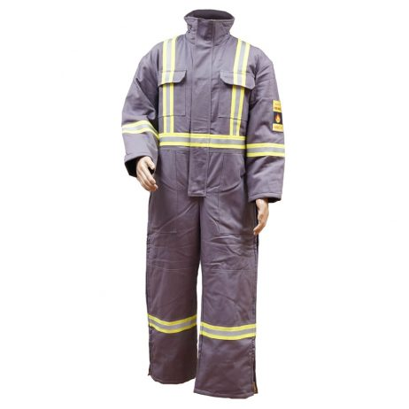 grey insulated fr coveralls