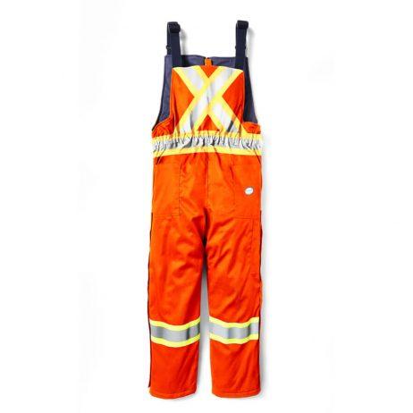 hi viz insulated bib overalls back orange