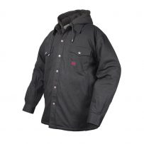 black sherpa lined duck work shirt