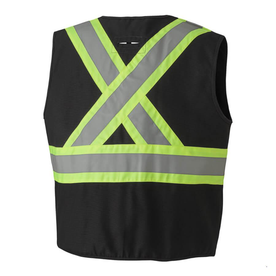 fr unlined hi-viz vest black
