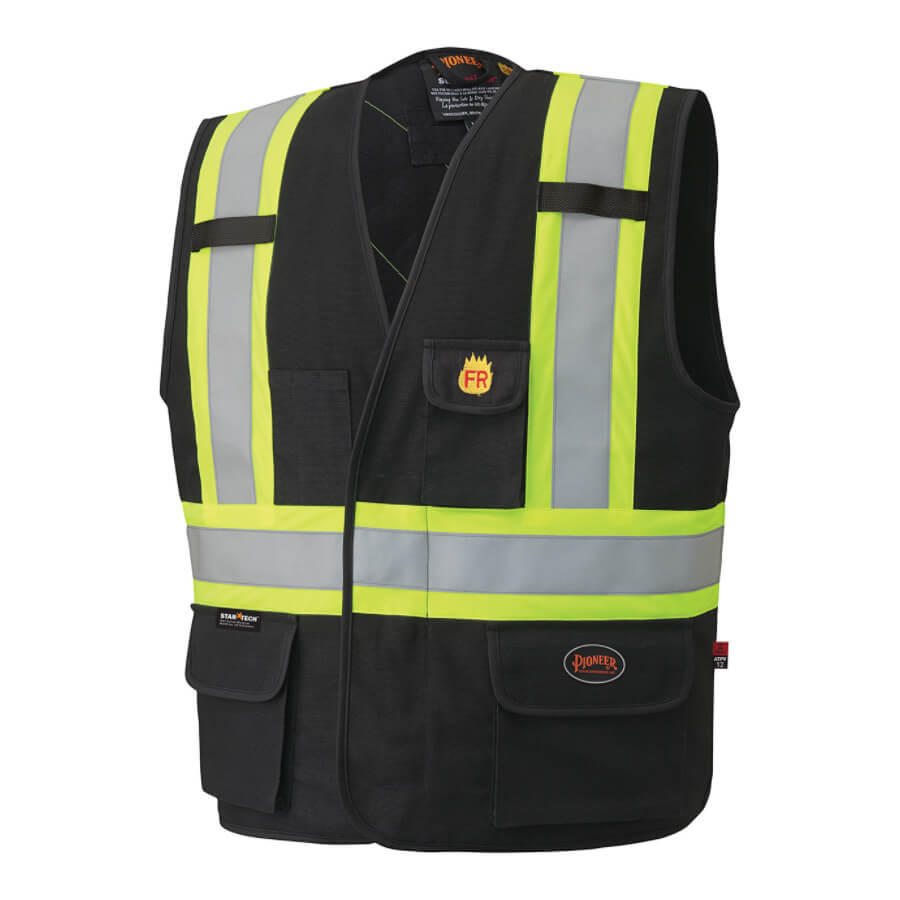 FR Fire resistant hi-viz unlined vest black