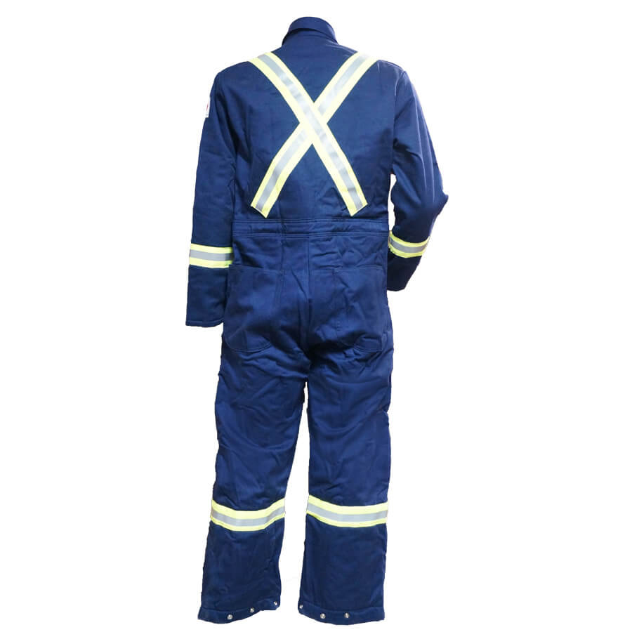 navy insulated coveralls rear view