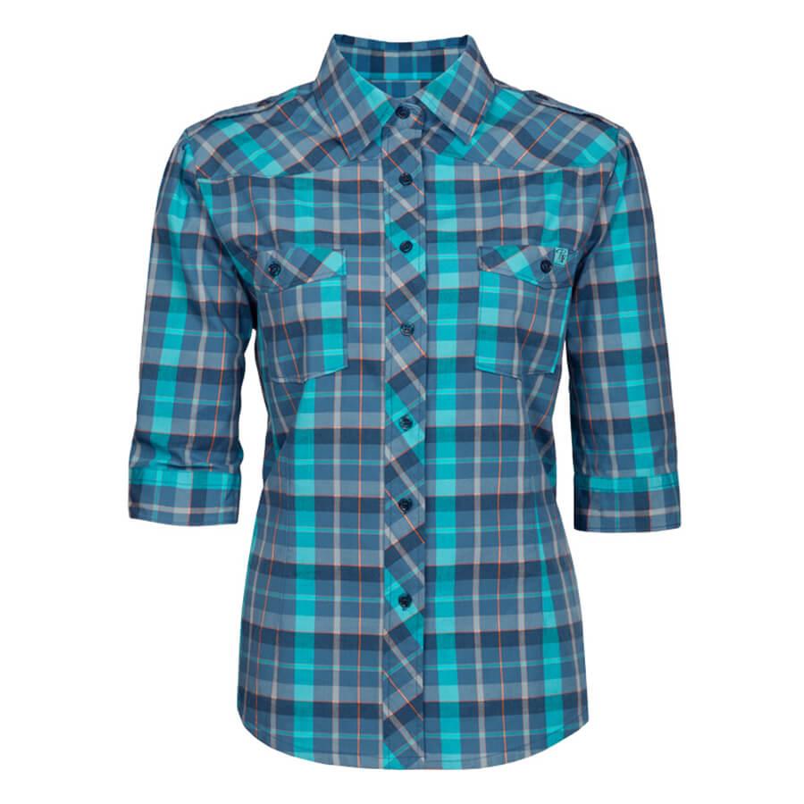 blue plaid ladies work shirt