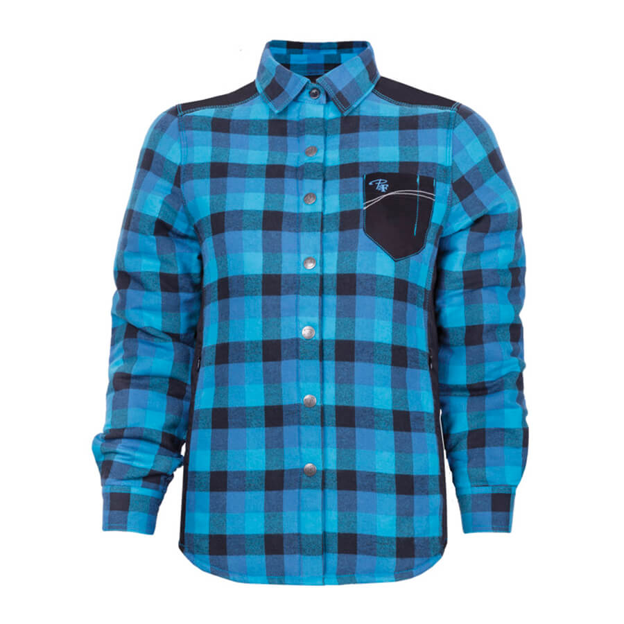 padded plaid blue ladies shirt