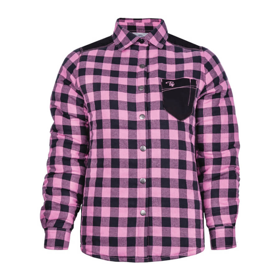 padded plaid pink women's shirt