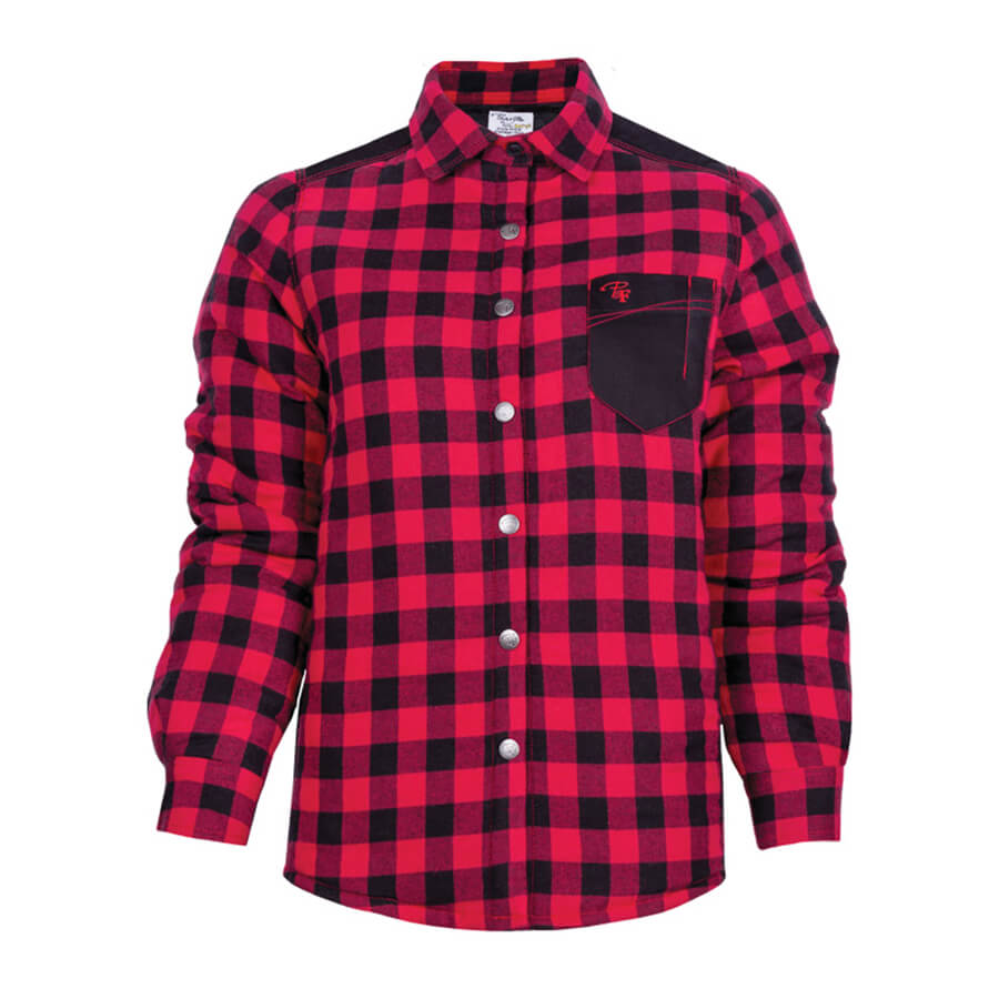 padded plaid red ladies shirt