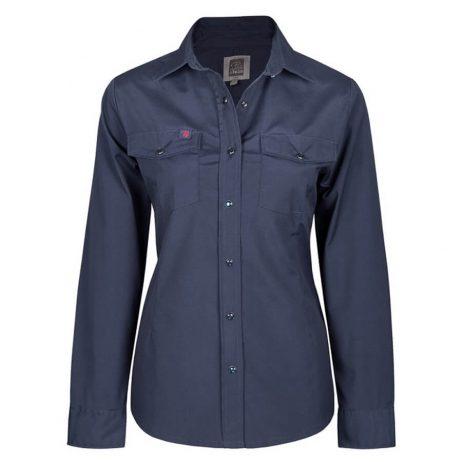 navy women's stretch work shirt