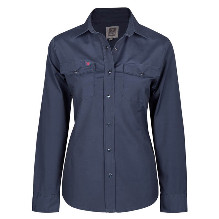 navy women's stretch work shirt