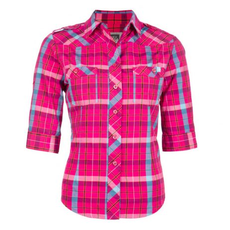 pink plaid ladies work shirt